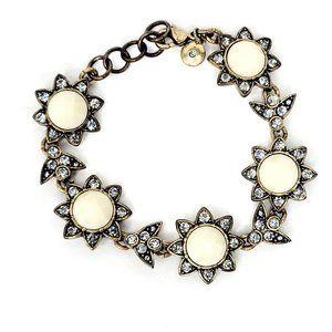 J. Crew Antique Gold Floral Jeweled Bracelet